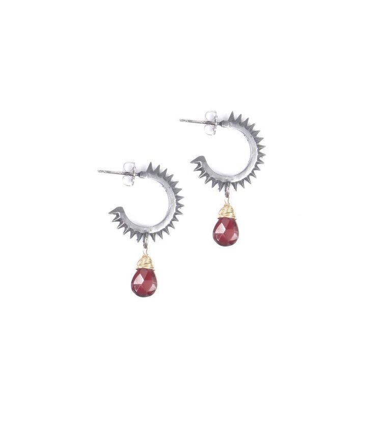 Small spikes antique silver hoops with teardrop - Laura Cantu Jewelry - Mx