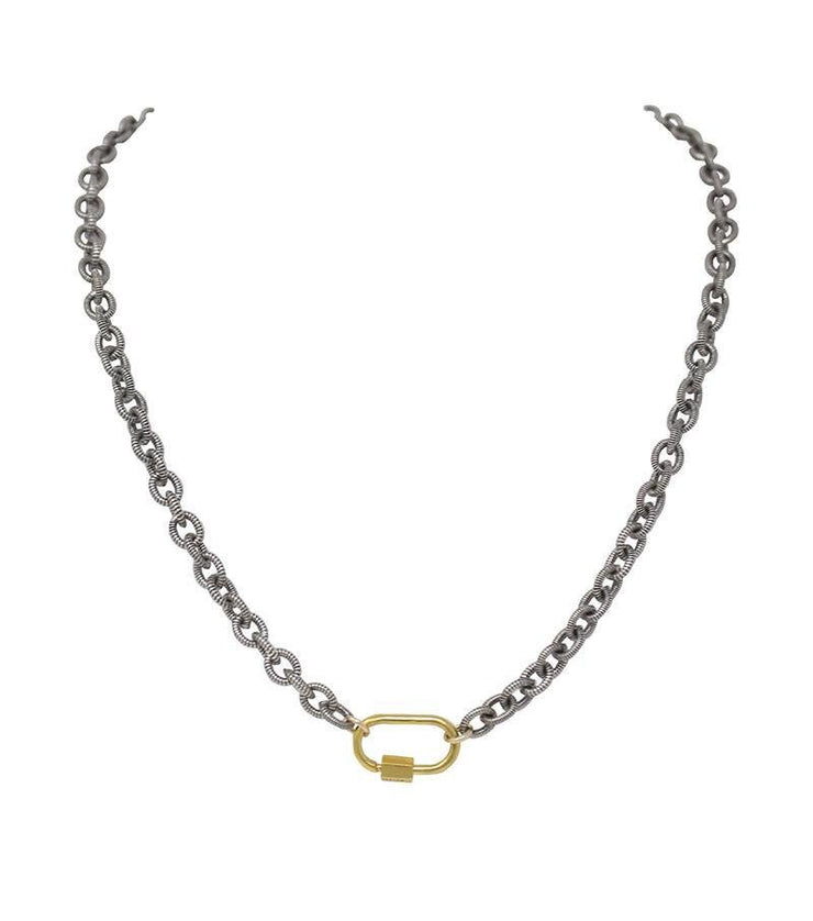 Striped chain choker with lock - Laura Cantu Jewelry - Mx