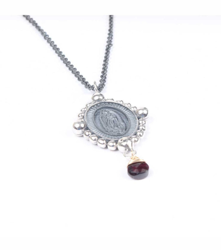 Virgen de Guadalupe Necklace with Garnet Teardrop - Laura Cantu Jewelry - Mx