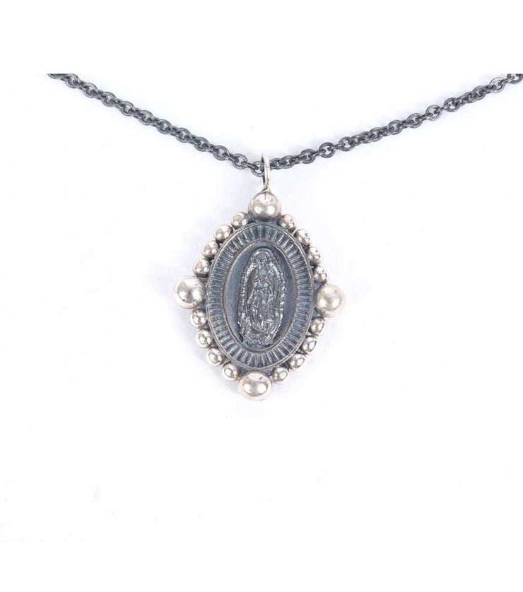 Virgen de Guadalupe silver necklace silver chain - Laura Cantu Jewelry - Mx