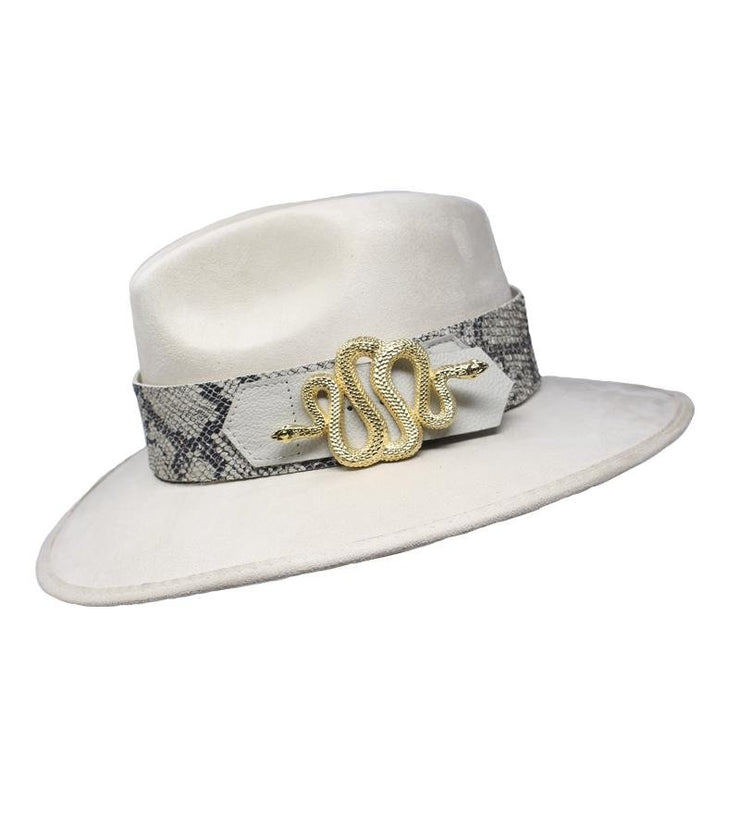 White Suede Hat with Snake Buckle - Laura Cantu Jewelry - Mx