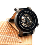 Luxury  Men's  Mechanical Watches Black Wooden Watch Genuine Leather Strap Wooden Gifts Box