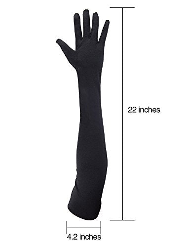 e35362ad5 ... Sumind 1920s Opera Gloves Satin Long Elbow Length Gloves Adult Size for  Women (Black) ...