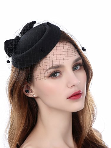 ae69278afb8 Fascinator Hats for Women Pillbox Hat with Veil Headband and a Forked Clip  Tea Party Headwear