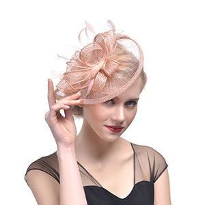 fc94589f6cdad FeiYu Crafts Penny Mesh Hat Fascinator Mesh Ribbons Shell Pink Feathers -  Clari s Vintage Closet