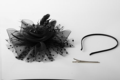 7a5c957a7bd ... Zivyes Fascinators Hat for Women Tea Party Headband Kentucky Derby  Wedding Cocktail Flower Mesh Feathers Hair