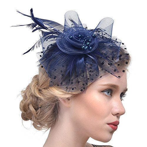 405fe6f75f60c ... DRESHOW Fascinators Hat Flower Mesh Ribbons Feathers on a Headband and  a Clip Tea Party Headwear ...