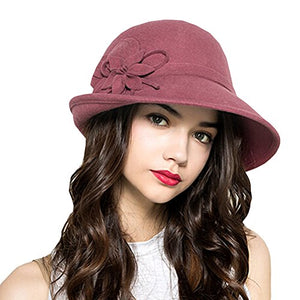 Maitose Women s Wool Felt Flowers Church Bowler Hats Pink - Clari s Vintage  Closet 15ae6c5c5a28