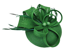 Ahugehome Fascinator Hair Clip Headband Feather Flower Pillbox Hat Wedding  Tea Party (K Dark Green 2806c0f7d7e