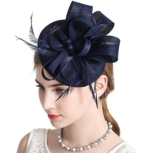 354e7028 Sinamay Feather Fascinators Womens Pillbox Flower Derby Hat for Cocktail  Ball Wedding Church Tea Party Navy ...