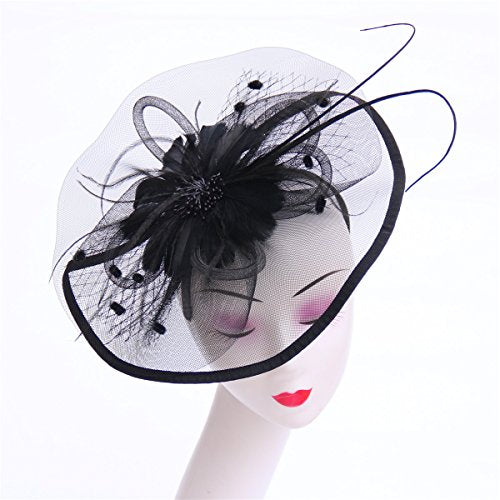 837e9a3b0 Lucky Leaf Women Girl Fascinators with Hair Clip Hairpin Hat Bowknot  Feather Flower Veil Cocktail Wedding Tea Party Hat (8-Black)