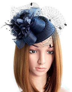 f4a71a34514 Coolwife Fascinator Hats Pillbox Hat British Bowler Hat Flower Veil Wedding  Hat Tea Party Hat (