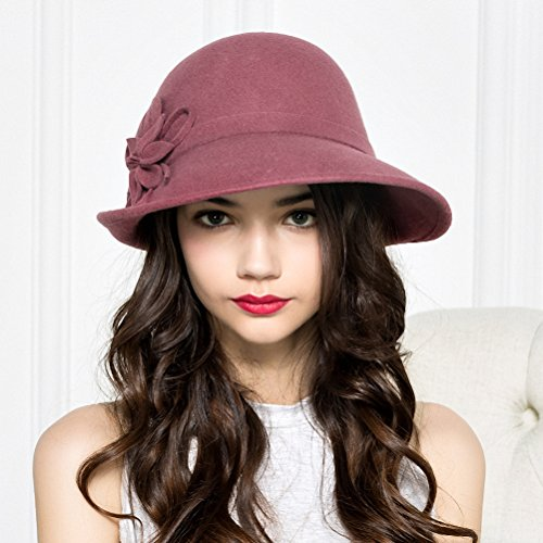 ... Maitose Women s Wool Felt Flowers Church Bowler Hats Pink - Clari s  Vintage ... 101d095c46df