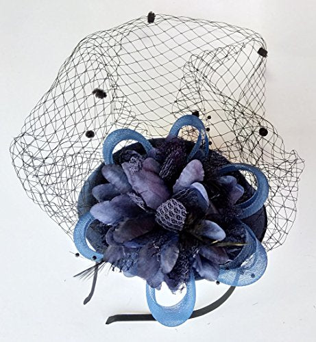 cd6375e74c5 ... Coolwife Fascinator Hats Pillbox Hat British Bowler Hat Flower Veil  Wedding Hat Tea Party Hat ...