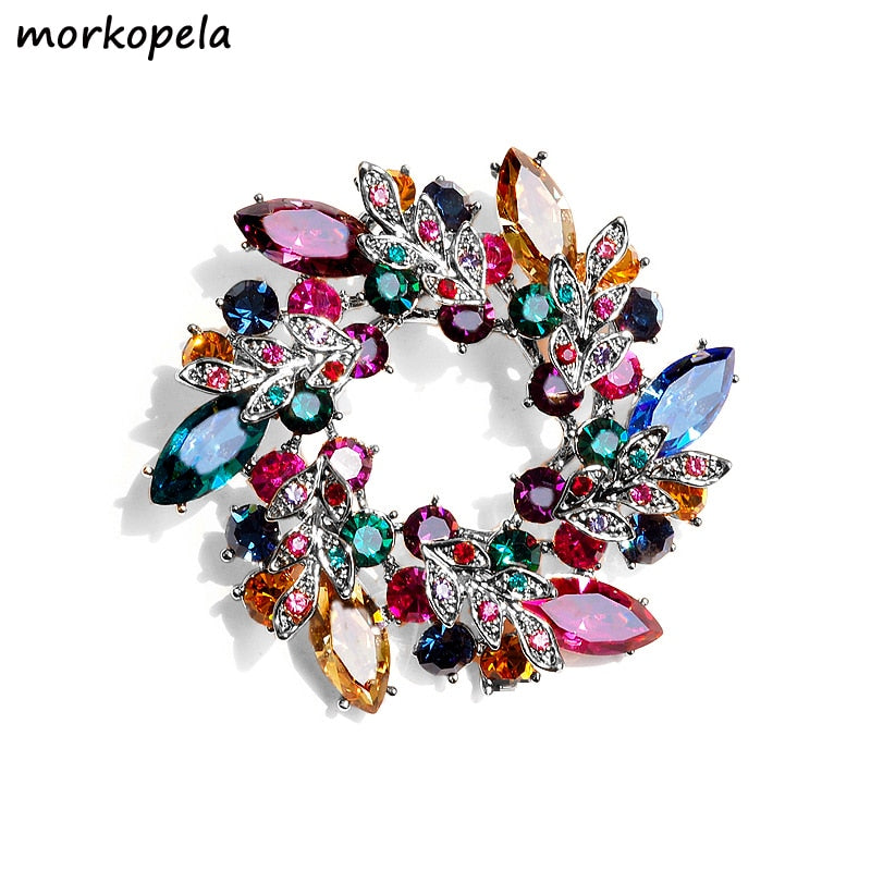 563882584520e Morkopela Big Flower Crystal Brooch For Women Fashion Brooch Pin Bouquet  Rhinestone Brooches And Pins Scarf Clip Jewelry