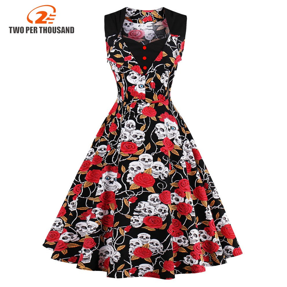 9f17dab569682a S-4XL Plus Size Women Robe Pin Up Skull Print Dress Retro Vintage 50s 60s  ...