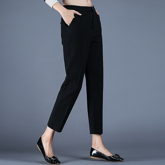 145e6c63894 MUSENDA Plus Size Women Button Fly ...Mid Waist Harem Pants Ankle Length  Trousers 2017 Autumn Female Casual Lady Pants Black Gray
