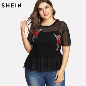 6e6b28ef SHEIN Plus Size Summer Black Blouse Women Sexy Floral Round Neck Short  Sleeve Embroidered Rose Applique