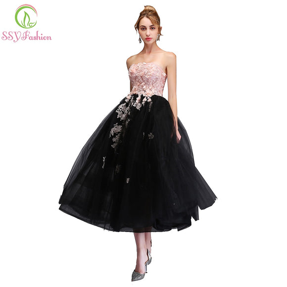 066ae9561ad SSYFashion 2018 New Sweet Pink with Black Evening Dress Strapless  Sleeveless Lace Appliques Tea-length