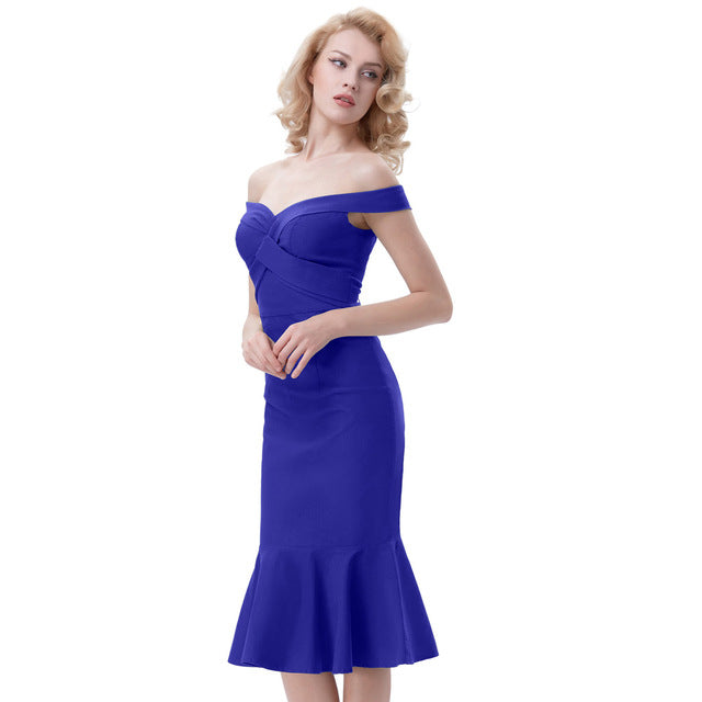 96be14db988a1 Belle Poque Women Sexy Off Shoulder Club Party Dress Retro Vintage Bodycon  Evening 2018 Summer Woman Mermaid Wiggle Office Dress