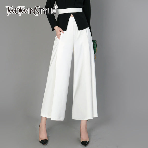 TWOTWINSTYLE Split Wide Leg Pants Female High Waist Elastic Ruched Pocket  Ankle Length Trousers Spring Summer 0e05f7709f3c