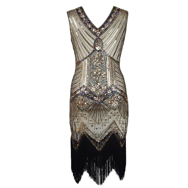 2d25979cf03a ... Women s 1920s Vintage Fringe Flapper Dress Dazzling Sequins Beaded  Great Gatsby Costume Roaring 20s Party Retro ...