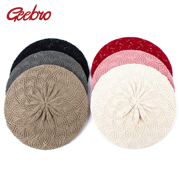 2ac752086 Geebro Women's Plain Color Knit Beret Hat Spring Casual Thin Acrylic ...
