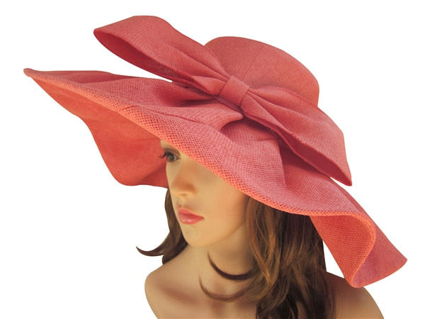b7fea0f8ad6 ... Huge Linen Sun Hat Women Kentucky Derby Wide Brim Sun Hat Wedding  Church Beach Hats for ...