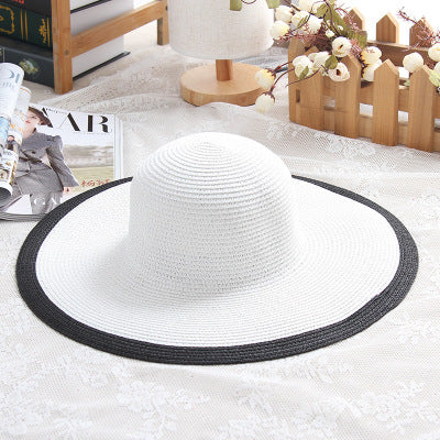 80d14b0712b247 ... Hot Sale Fashion Hepburn Wind Black White Striped Bowknot Summer Sun  Hat Beautiful Women Straw Beach ...