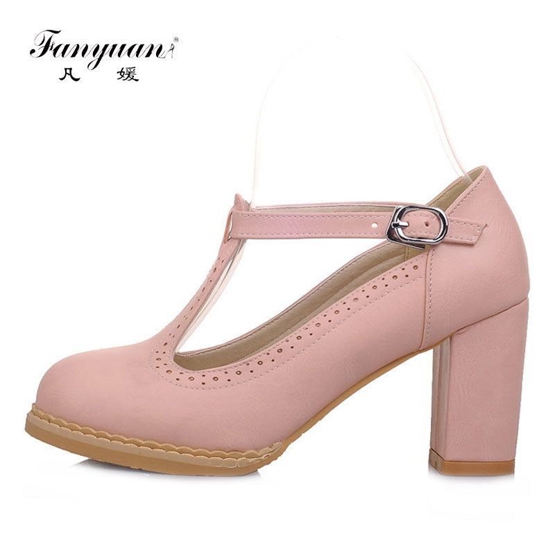 e5afe5ab9c52 Fanyuan High Heeled Shoes Woman Vintage Round Toe Black Pink Pumps Women  Shoes Comfort Thick High ...