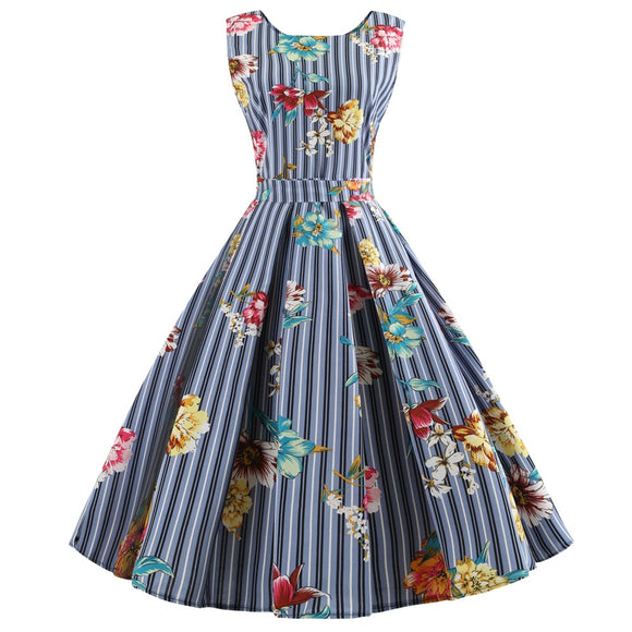 Wipalo Stripe Floral Print Vintage Dress Women New 2018 Polka Dot Summer  Pin Up Dress Sleeveless 09b651a9ab3f