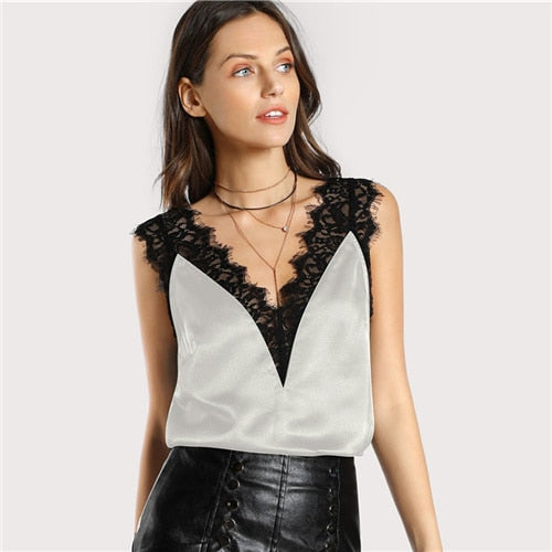 06b0b9116e939 ... SHEIN Lace Trim Double V Neck Satin Silk Top Sexy Tops for Women  Fitness Tank Top