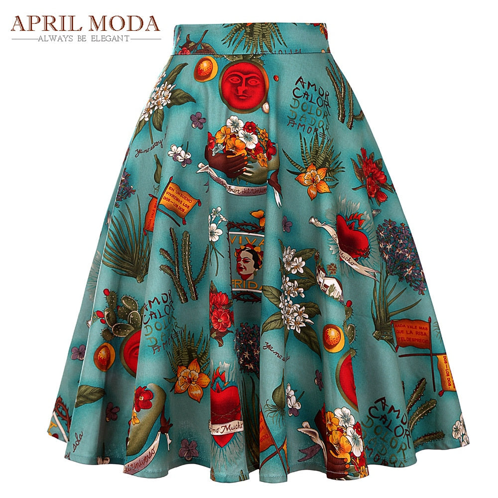 be435a4ed Women Midi Skirt 2018 Runway Vintage Rockabilly Skirts Womens Pinup 50S 60S Cotton  Pleated High Waist ...