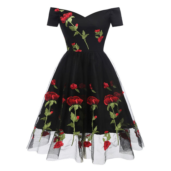 Women Vintage Princess Floral Embroidery Cocktail Off Shoulder Party Swing  Dress cf81f0478722