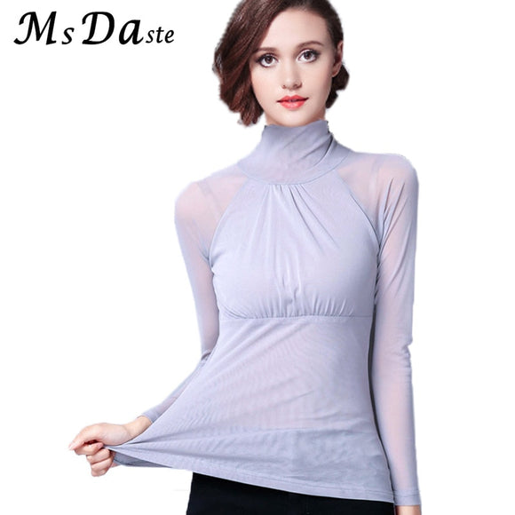 eb7f81d7 Women Turtleneck Tees Shirt Femme 2018 Spring Lace Sexy Bodycon Lady Blouses  Female Tops Blusas Femme
