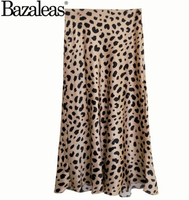 b05f64fb3cc72 Bazaleas Vintage High Waist Midi Skirts Leopard Pattern Women Skirt Sexy  Slim Wild women skirt Casual slip style skirt