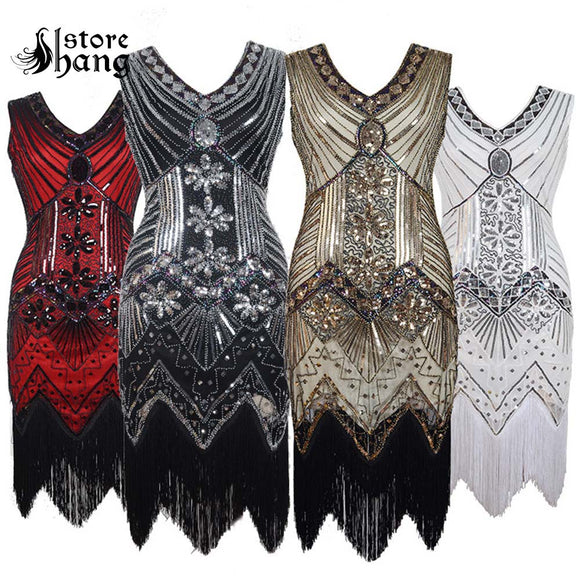 Women s 1920s Vintage Fringe Flapper Dress Dazzling Sequins Beaded Great  Gatsby Costume Roaring 20s Party Retro 6441908e58e6