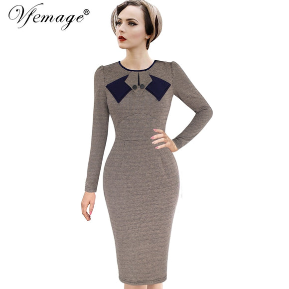 4f3c08ac Vfemage Womens Elegant Vintage Pinup Retro Rockabilly Patchwork Long Sleeve Work  Party Sheath Bodycon Wiggle Dress