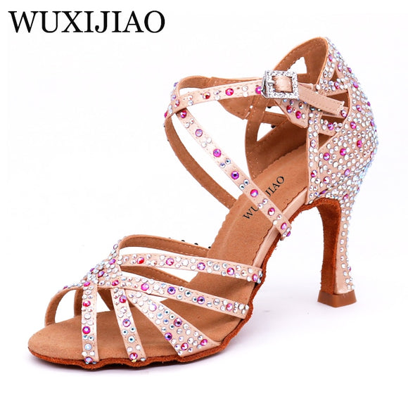 0290edce9 WUXIJIAO Women Salsa party Ballroom shoes Latin dance shoes big small  rhinestone shining Bronze Skin Black