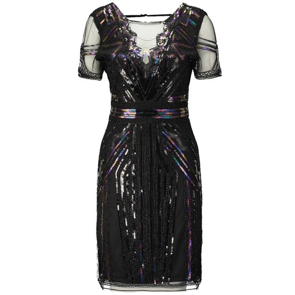 Women Vintage 1920s Art Deco Great Gatsby Dress Sheer V Neck Hollow Back Short  Sleeve Inspired dac0ce1e066f