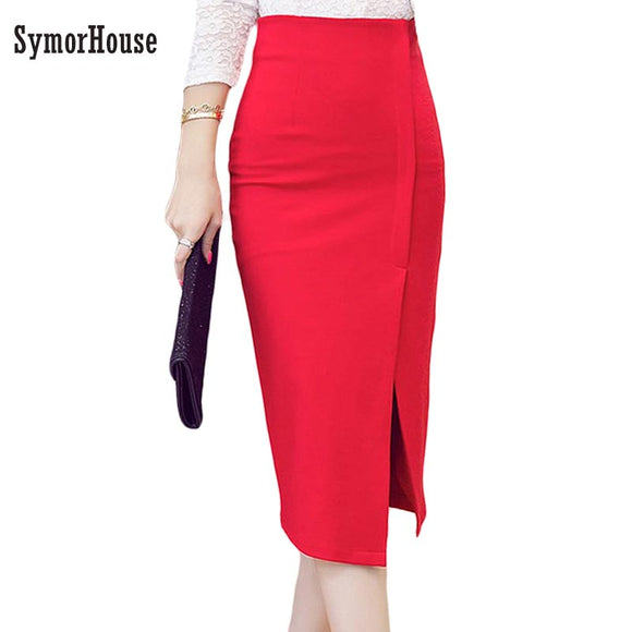 a130050a8f High Waist Pencil Skirt Women Plus Size Tight Bodycon Fashion Women Midi  Skirt Red Black Slit