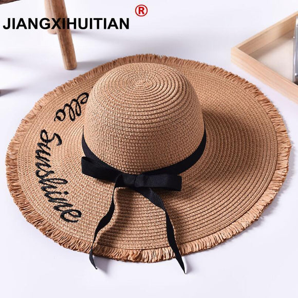 85c629b617806 Handmade Weave letter Sun Hats For Women Black Ribbon Lace Up Large Brim  Straw Hat Outdoor