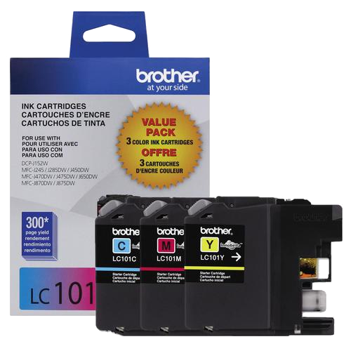 Brother® – Cartouches d'encre trois couleurs LC-101, paq./3 (LC1013PKS) - S.O.S Cartouches inc.