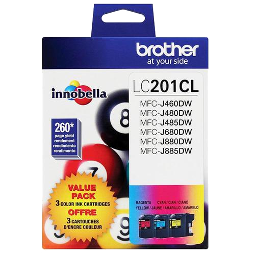 Brother® – Cartouches d'encre trois couleurs LC-201, paq./3 (LC2013PKS) - S.O.S Cartouches inc.