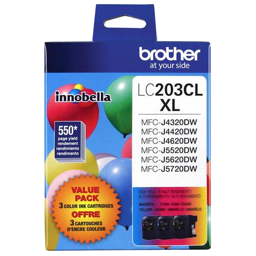 Brother® – Cartouches d'encre trois couleurs LC-203, paq./3 (LC2033PKS) - S.O.S Cartouches inc.