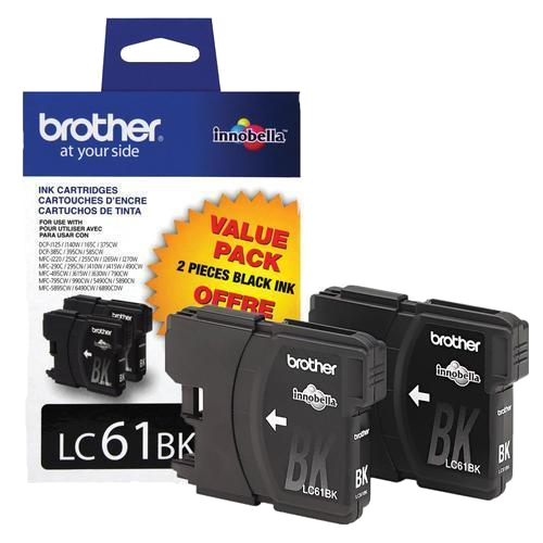 Brother® – Cartouches d'encre noire LC61, paq.2 (LC612PKS) - S.O.S Cartouches inc.
