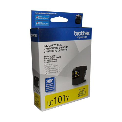 Brother® – Cartouche d'encre LC-101 jaune rendement stantard (LC101YS)