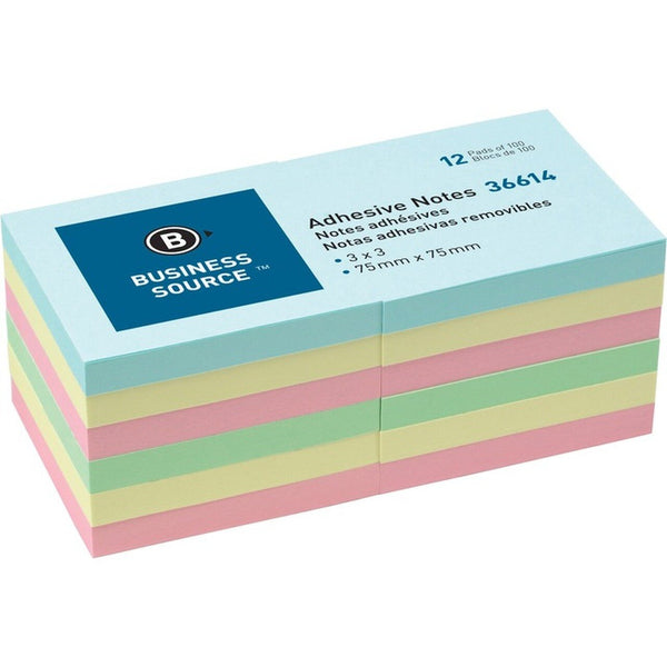 "Business Source Plain Pastel Coloured Adhesive Notes 3""- 12 / pack (BSN36614)"