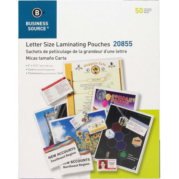 Business Source Clear Laminating Pouches 5 mil - 50 / box (BSN20855)