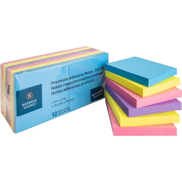 Notes adhésives Business Source 3 x 3 couleurs extrêmes - 12 / paquet (BSN36615)